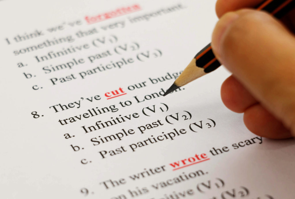 person taking an english exam like in the TOEFL or ILETS