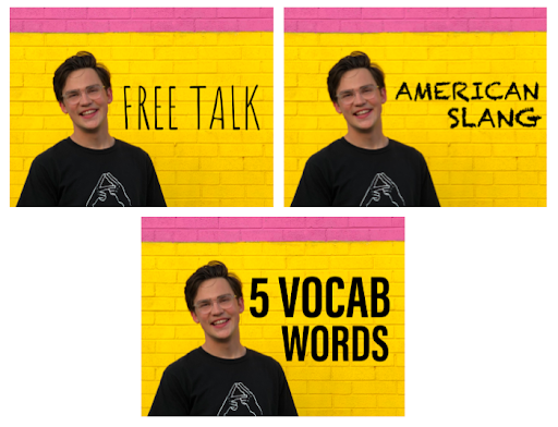 3 examples of thumbnails for a Hallo Live video/livestream saying free talk, american slang, 5 vocab words